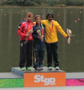Podio C1 200 m femenino Santiago 2014
